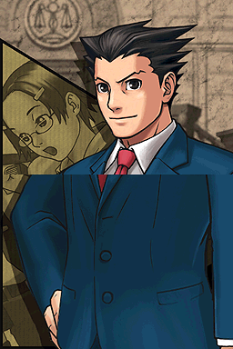 Phoenix Wright looks proud in the foreground with a sepia image of Maggey Byrde in the background.