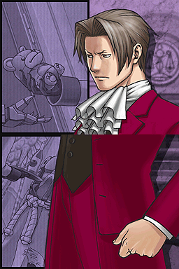 Edgeworth faces to his right with a serious expression and clenched fist toward a dark purple-tinted image of a teddy bear being handed to a metal hand.
