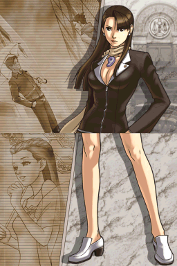 Mia Fey stands with a serious expression with background sepia images of Young Phoenix and Doug Swallow looking at each other and Dahlia Hawthorne.
