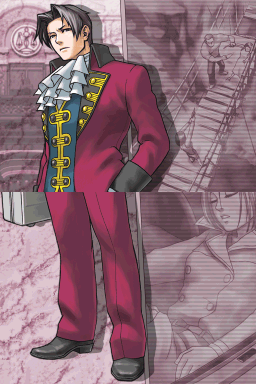 Young Edgeworth stands confidently with purple-tinted background images of two people on a bridge, with one person pointing a gun at the other person, and Valerie Hawthorne dead in a trunk.