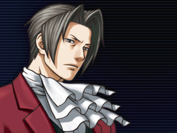 Miles Edgeworth is looking seriously to his left.