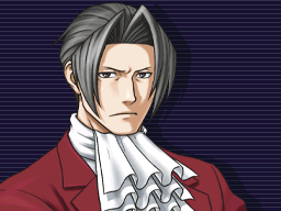 Miles Edgeworth looking forward seriously with his arms crossed.