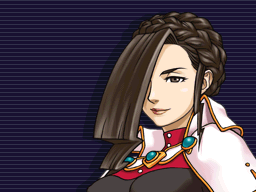 Hakari Mikagami looking forward confidently with her gavel in her hands.