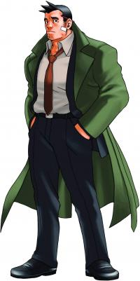 Full profile of Detective Gumshoe, who is standing with a slightly curious expression and hands in his pockets