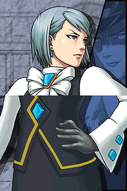 Franziska von Karma looks to her left toward a blue-tinted background image of Maximillion Galactica.