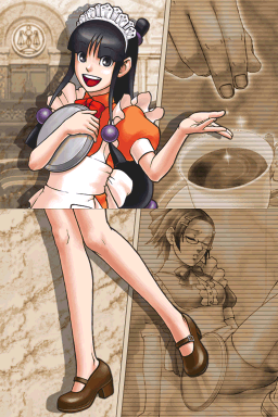 Maya looks happy in a waitress' outfit with sepia background images of someone drugging a cup of tea and Maggey Byrde passed out on the floor.