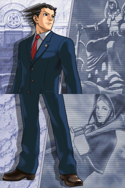 Phoenix stands looking seriously to his left toward blue-tinted background images of Ami Fey's statue and Misty Fey.