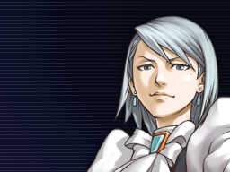 Franziska von Karma looks forward confidently with her whip in her right hand and her left arm reaching to the side.