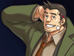 Gumshoe looks forward smiling with his right hand behind his head.
