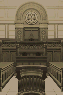 Gray brown image of an empty court room