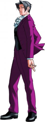 Full profile of Miles Edgeworth, who is facing to the left, looking toward the audience with a cool expression