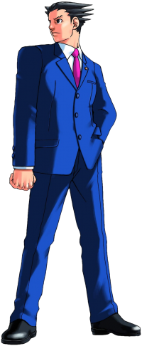 Full profile of Phoenix Wright, who is looking to his right with a serious expression with his left hand in his pocket